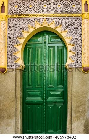 mosque green door, Tanger, Morocco - stock photo