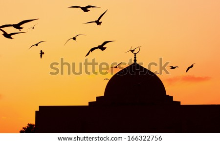 Mosque in the evening birds flying - stock photo