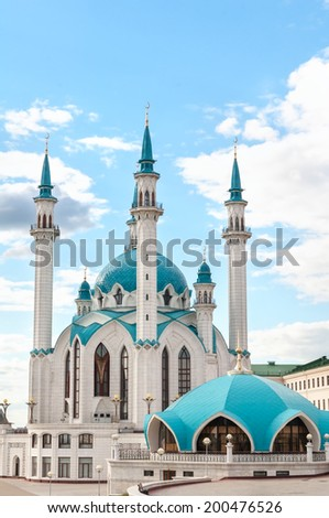 "Mosque ""Kul Sharif"" in Kazan Kremlin, Tatarstan, Russia. - stock photo"