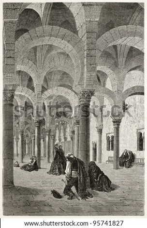 Mosque of Cordoba interior old view, Spain. Created by Gustave Dore, published on Le Tour Du Monde, Paris, 1867 - stock photo