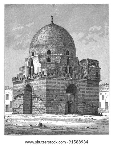 Mosque of Ibn Tulun - Cairo (Egypt) - Vintage illustration from Meyers Konversations-Lexikon 1897