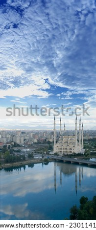 Mosque panorama portrait orientation - stock photo