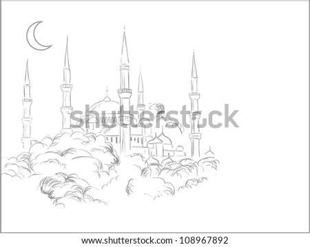 Mosque sketch - stock photo