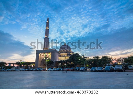 Mosque view during sunset dusk in Malaysia