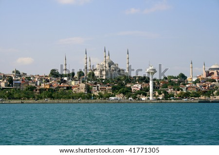mosque with epidemic deathes - stock photo