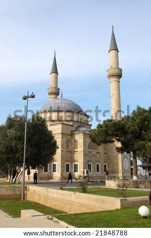 Mosque with two minarets in Baku, Azerbaijan - stock photo