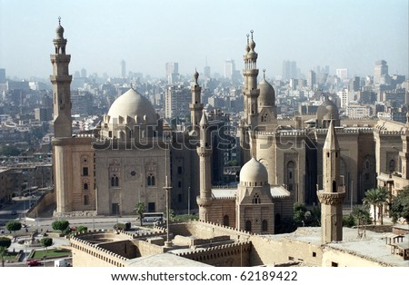 Mosques of Sultan Hassan and Ar Rifai, Cairo, Egypt - stock photo