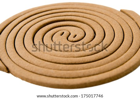 Mosquito repellent coils on white background - stock photo