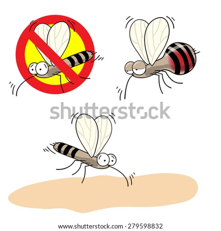mosquitoes stop sign - funny of a mosquito in a red crossed out circle - stock photo