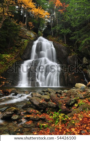 Moss Glen Falls in autumn in vermont - stock photo