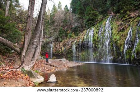 Mossbrae Waterfall, California - stock photo