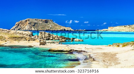 most beautiful beaches of Greece - Lefkos, in Karpathos island - stock photo