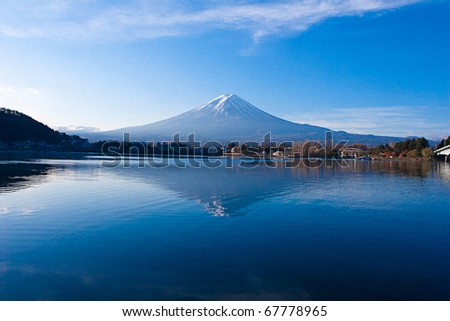 Most beautiful Mount Fuji in autumn, Japan