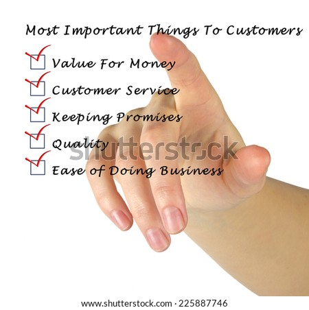 Most Important Things To Customers - stock photo