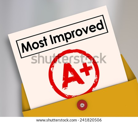 Most Improved words on a report card with grade or score A+ to illustrate a student or employee who has increased results and made great strides in better performance - stock photo