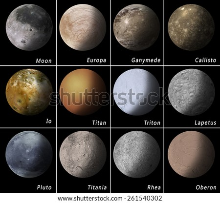 most known satellites of our solar system Elements of this image furnished by NASA - stock photo