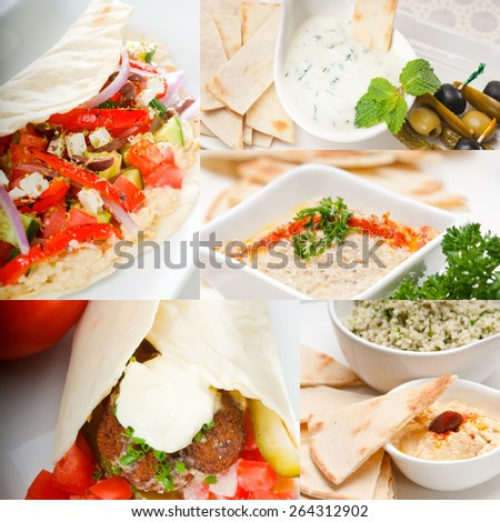 most popular Arab middle east food collection,hummus, falafel,mutabal,pita bread - stock photo