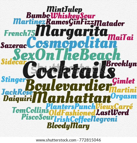 Most popular cocktails word cloud concept