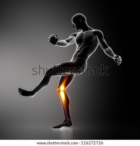 Most stressed sportsman joint KNEE - stock photo