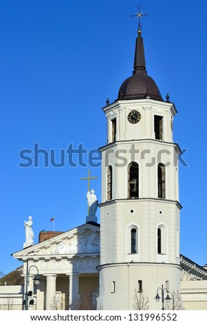 Most tourist attraction in Vilnius, Lithuania - Cathedral of Vilnius, spring - stock photo