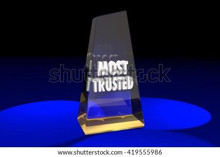 Most Trusted Trustworthy Reputation Award Words 3d Illustration - stock photo