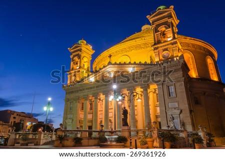 Mosta dome at night - Malta - stock photo