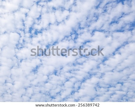 Mostly cloudy in the evening sky - stock photo