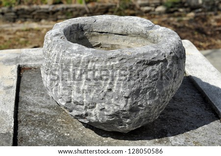 Motar Stone Bowl Object Outdoor - stock photo