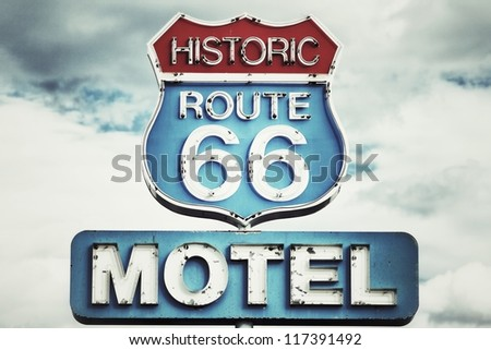 Motel sign on Route 66 USA - stock photo