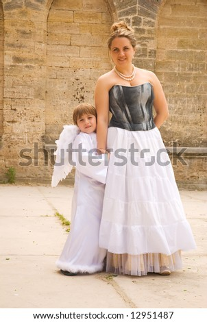 mother and angel son