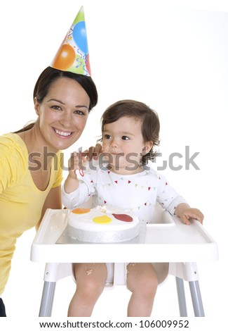 Mother and baby celebrating birthday