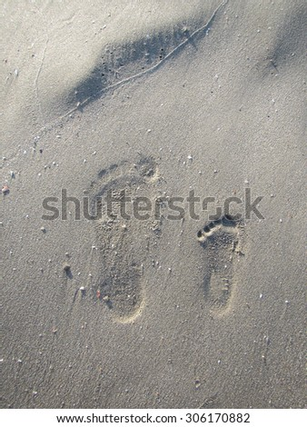 Mother and Baby footprints - stock photo