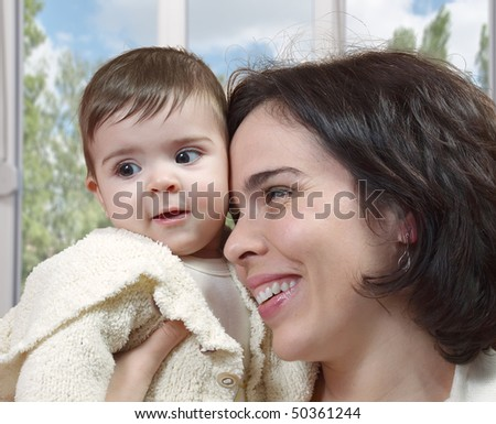Mother and baby smiling