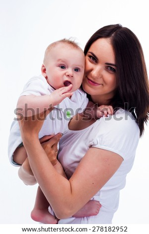 mother and baby studio white