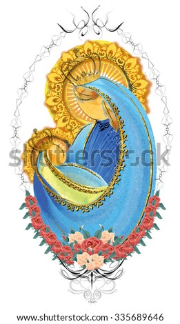 Mother and child, Blessed Virgin Mary with baby Jesus, crowned in a victorian frame with roses and gilded vestments,  holy family Christmas nativity illustration - stock photo