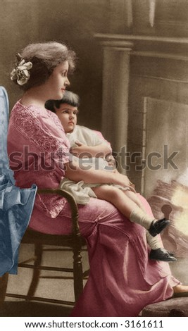 Mother and child by the fireplace - circa 1905 vintage hand-tinted photo - stock photo