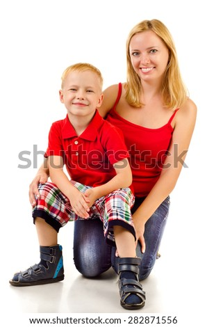 mother and child isolated on a white background - stock photo