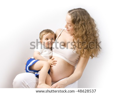 Mother and child on white backgroung - stock photo
