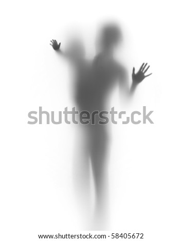 Mother and child, palms and body silhouettes - stock photo