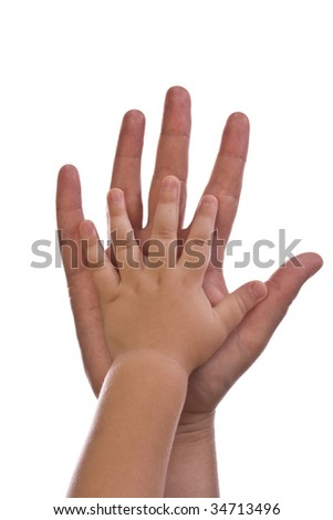 Mother and children hands on white