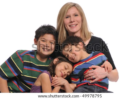 Mother and children portrait having fun isolated on a white background