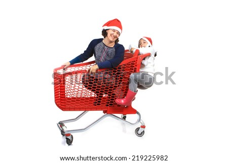 mother and daughter and the shopping cart