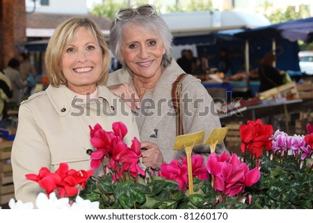 Mother and daughter at the market