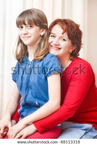 mother and daughter child happy family
