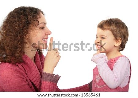 mother and daughter do gesture more silently