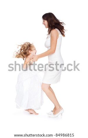 mother and daughter having fun isolated on white background - stock photo