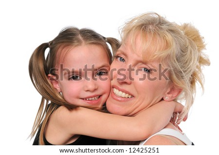 Mother and daughter Hugging each other on white