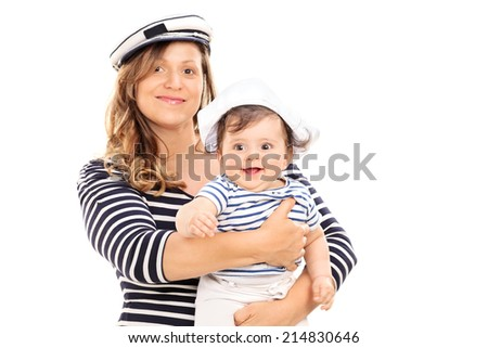 Mother and daughter in sailor costumes isolated on white background