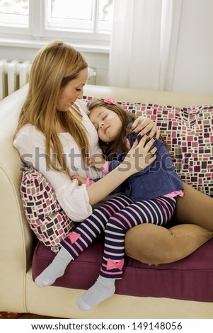 Mother and daughter in the room