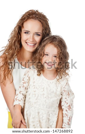 Mother and daughter, isolated on white - stock photo